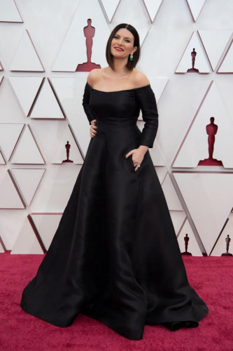 Oscar nominee Laura Pausini arrives on the red carpet of The 93rd Oscars at Union Station in Los Angeles, CA on Sunday, April 25, 2021.