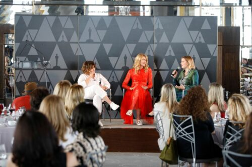 (L-R) Amy Pascal, Laura Dern, and Greta Gerwig speak onstage during the Academy of Motion Picture Arts & Sciences' Women's Initiative New York luncheon