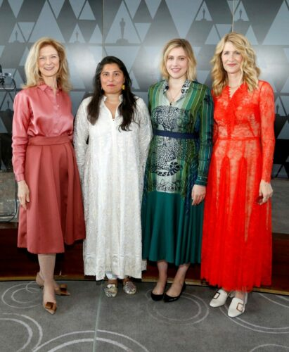 (L-R) Dawn Hudson, Sharmeen Obaid-Chinoy, Greta Gerwig and Laura Dern attend the Academy of Motion Picture Arts & Sciences' Women's Initiative New York luncheon