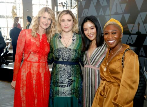 (L-R) Laura Dern, Greta Gerwig, Constance Wu, and Cynthia Erivo attend the Academy of Motion Picture Arts & Sciences' Women's Initiative New York luncheon