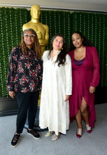(L-R) Lisa Cortes, Sharmeen Obaid-Chinoy and Sabrina Schmidt Gordon attend the Academy of Motion Picture Arts & Sciences' Women's Initiative New York luncheon