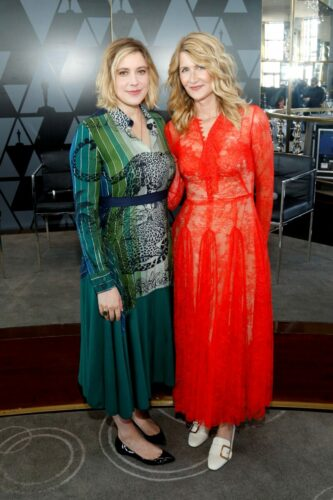 Greta Gerwig and Laura Dern attend the Academy of Motion Picture Arts & Sciences' Women's Initiative New York luncheon