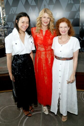 L-R) Elizabeth Chai Vasarhelyi, Laura Dern and Lisa Pelikan attend the Academy of Motion Picture Arts & Sciences' Women's Initiative New York luncheon