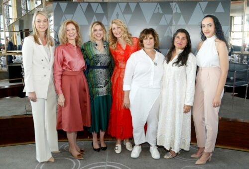 L-R) Jen Neal, Dawn Hudson, Greta Gerwig, Laura Dern, Amy Pascal, Sharmeen Obaid-Chinoy, and Eliana Pipes attend the Academy of Motion Picture Arts & Sciences' Women's Initiative New York luncheon