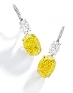 9694 lot 161 Pair of Fancy Vivid Yellow Diamond and Diamond Earrings preview