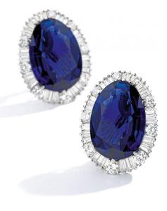9694 lot 205 Pair Of Sapphire And Diamond Earclips, weighing 20.10 and 20.00 carats preview