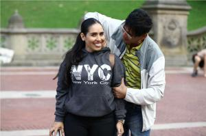 central park visitor being stopped by central massage guy