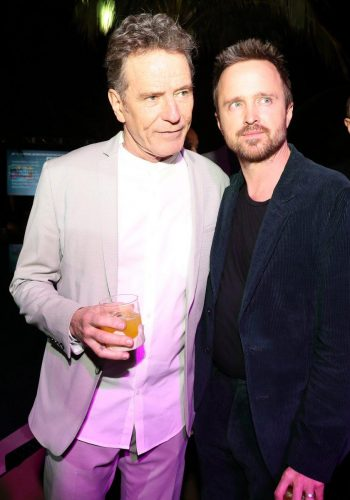 Bryan Cranston and Aaron Paul attend 2020 Big Game Big Give at Star Island on February 01, 2020 in Miami, Florida.