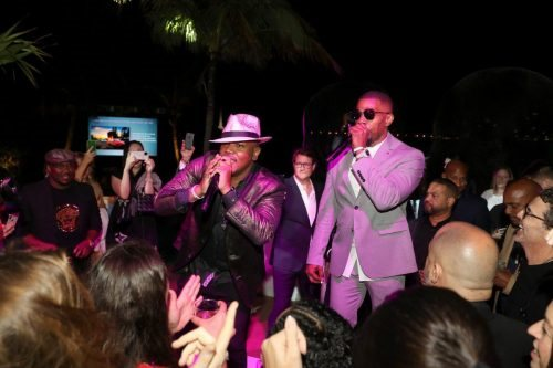 Kevin Lyttle and Jamie Foxx attend 2020 Big Game Big Give at Star Island on February 01, 2020 in Miami, Florida.