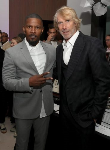 Jamie Foxx and Michael Bay attend 2020 Big Game Big Give at Star Island on February 01, 2020 in Miami, Florida.