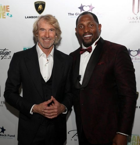 Michael Bay and Ray Lewis attend 2020 Big Game Big Give at Star Island on February 01, 2020 in Miami, Florida.
