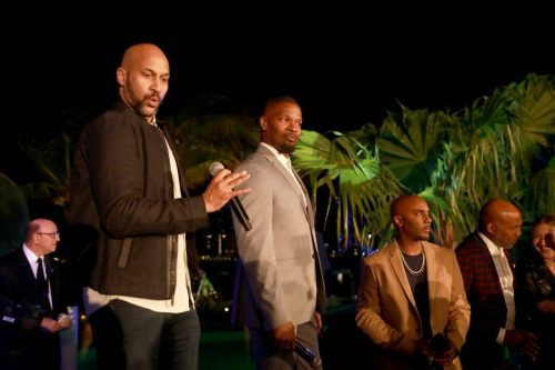 Keegan-Michael Key and Jamie Foxx attend 2020 Big Game Big Give at Star Island on February 01, 2020 in Miami, Florida.