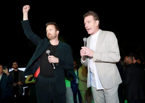 Aaron Paul and Bryan Cranston attend 2020 Big Game Big Give at Star Island on February 01, 2020 in Miami, Florida.