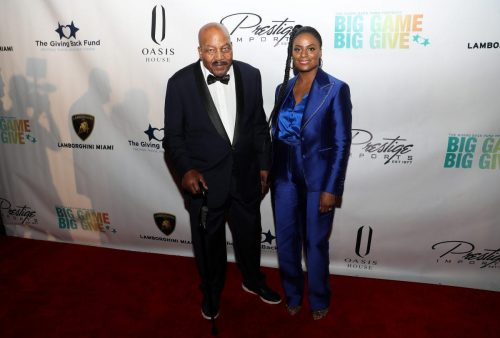 Jim Brown and DuShon Monique Brown attends 2020 Big Game Big Give at Star Island on February 01, 2020 in Miami, Florida.
