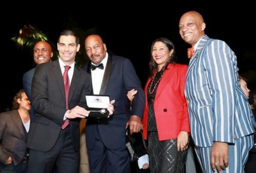 Mayor of Miami Francis X. Suarez and Jim Brown attends 2020 Big Game Big Give at Star Island on February 01, 2020 in Miami, Florida.