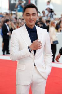 Actor Ming Dao wearing the Jaeger LeCoultre Polaris Chronograph in pink gold