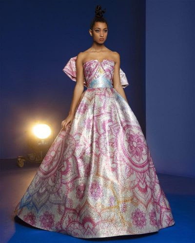 Pink And White Mandala Designed Ball Gown Printed Over Sequins, Featuring A Large Bow On The Back