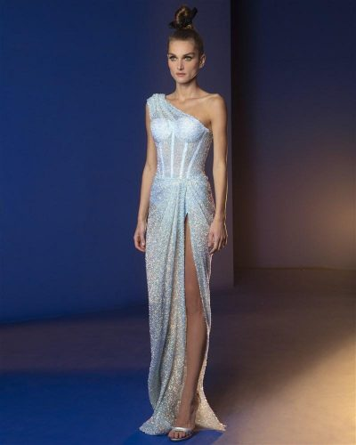 Illusion Blue Asymmetric Gown Embroidered With Iridescent Scroll Knitted Sequins Featuring A Side Slit