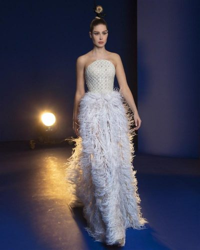 Off-White Ombré Feathers Gown Embroidered With Iridescent Beads And Sequins, Featuring Thread Work In A Tweed-Like Design