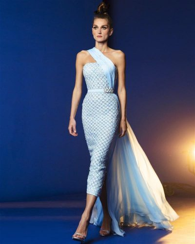 Sky Blue Knitted Muslin Gown Emboirdered With Iridescent Sequins and Thread In a Tweed-Like Form, Featuring One Shoulder Draping