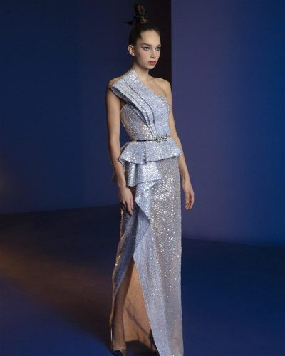 Glowing Silver Asymmetric Dress Emroidered With Silver Sequins and Beads Featuring Ruffles On The Waist And Skirt