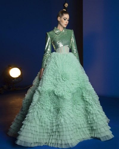 10 Mist Green Ruffled Ball Gown Featuring A Cropped Envelop Blazer Embroidered With Double Sequins