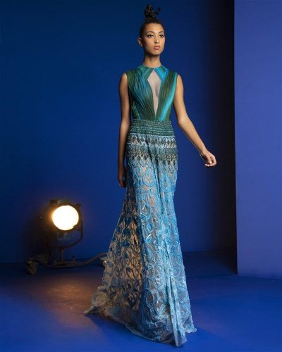 Turquoise And Green Ombré Draped Gown Featuring A Skirt Embroidered With Mandala Designs Of Swarovski Crystals, Beads And Sequins
