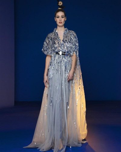 Ice Grey Kaftan Gown Embellished With Laser Cut Sequins Sheets And Swarovski Spheres, Featuring Flare Satin Pants