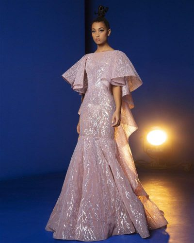 Rose Gold Ball Gown Embroidered With Sequins and Beads, Featuring Butterfly Ruffled Sleeves