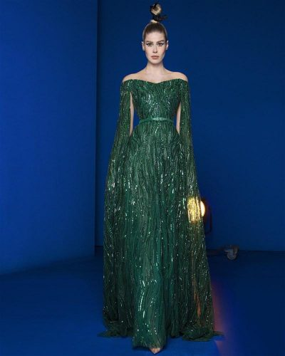 Emerald Green Gown Fully Embroidered With Swarovski Crystals and Shades of Green Sequins Featuring Cape Sleeves