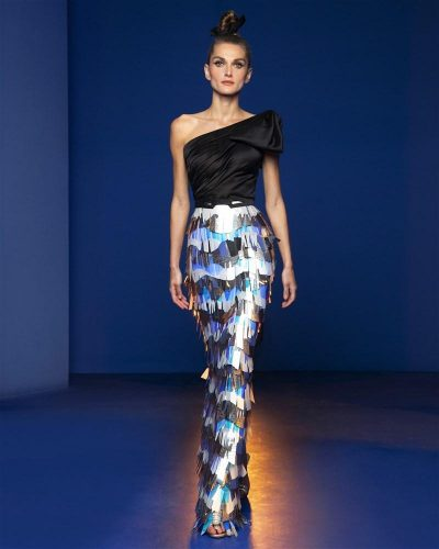 Black Asymmetrical Satin Gown Featuring A Laser-Cut Sequins Sheet Fringed Skirt