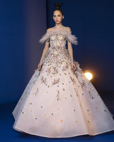 Petal Pink Ball Gown Embroidered With Peacock, Ostrich Feathers, Flower Sequins And Beads Featuring A Bodice Highlighted With Sequins