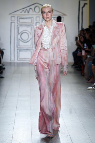 Petal Brushstroke Jacquard Jacket with Bouquet Tuxedo Shirt and Bootleg Pant