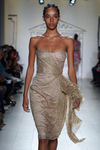 Gold Metallic Lace Cascade Bustier Dress