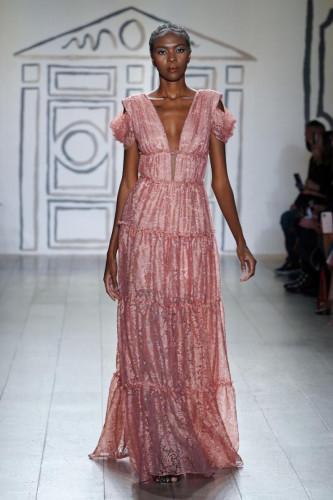 Rouge Metallic Lace Tier Dress