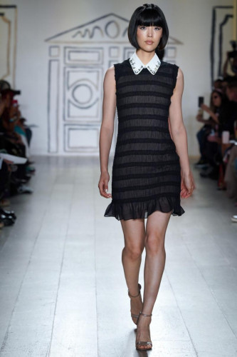 Onyx Ruch Tulle Flounce Dress with Diamanté White-Collar Necklace