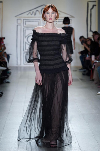 Onyx Ruch Tulle Off-the-Shoulder Cocoon Dress