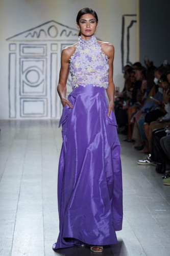 Lavender Floral Bouquet Halter with Silk Taffeta Cargo Ball Skirt