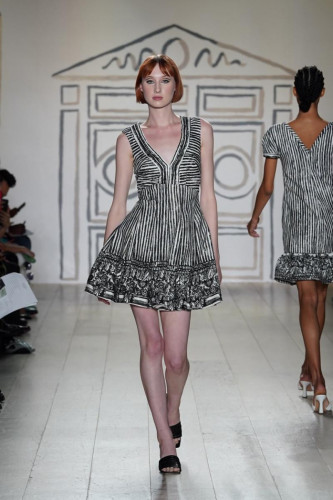 Black/White Release Pleated Dress