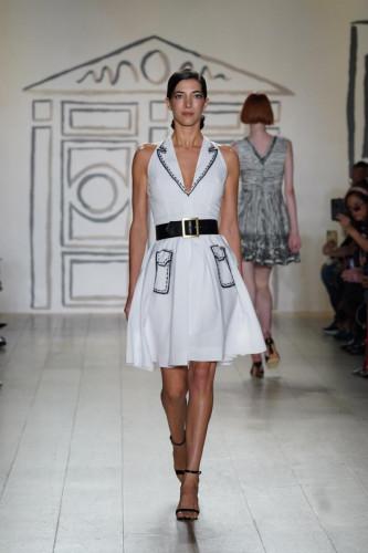 Black/White Trompe l'oeil Racer Dress