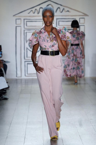 Salmon Painterly Floral Shirt with Pleated Trouser w/Brass Signature Belt