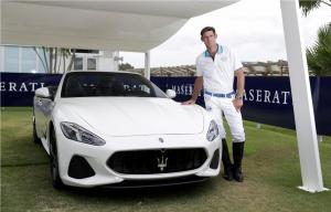 Professional Polo Player Malcolm Borwick with Maserati GranCabrio Sport MY18 wearing La Martina Limited Edition Sotogrande Polo Shirt