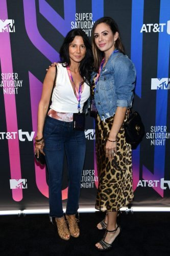 (L-R) Johana Walled and Marcella Amador-Walled attend AT&T TV Super Saturday Night at Meridian at Island Gardens on February 01, 2020 in Miami, Florida.