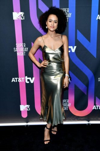 Nathalie Emmanuel attends AT&T TV Super Saturday Night at Meridian at Island Gardens on February 01, 2020 in Miami, Florida.