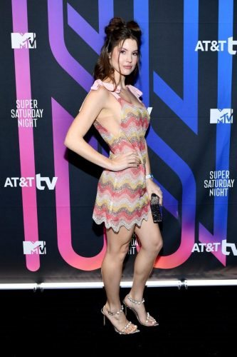 Amanda Cerny attends AT&T TV Super Saturday Night at Meridian at Island Gardens on February 01, 2020 in Miami, Florida.
