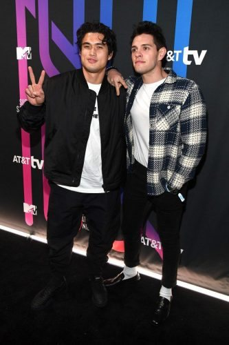 (L-R) Charles Melton and Casey Cott attend AT&T TV Super Saturday Night at Meridian at Island Gardens on February 01, 2020 in Miami, Florida.