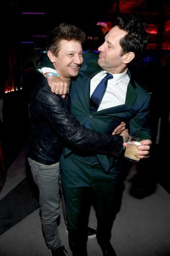 (L-R) Jeremy Renner and Paul Rudd attend AT&T TV Super Saturday Night at Meridian at Island Gardens on February 01, 2020 in Miami, Florida.