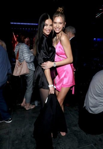 (L-R) Adriana Lima and Josephine Skriver attend AT&T TV Super Saturday Night at Meridian at Island Gardens on February 01, 2020 in Miami, Florida.