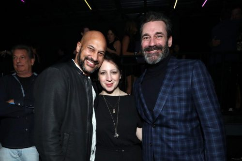 (L-R) Keegan-Michael Key, Elisa Key, and Jon Hamm attend AT&T TV Super Saturday Night at Meridian at Island Gardens on February 01, 2020 in Miami, Florida.