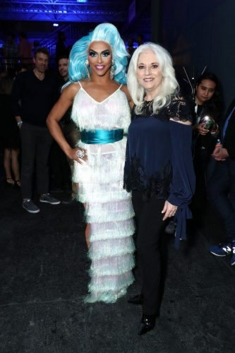 (L-R) Shangela and Cynthia Germanotta attend AT&T TV Super Saturday Night at Meridian at Island Gardens on February 01, 2020 in Miami, Florida.